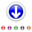 Down arrow icon - six colours set vector