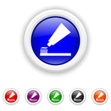 Tooth paste and brush icon - six colours set vector