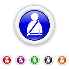 Safety belt icon - six colours set vector