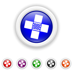 Medical patch icon - six colours set vector