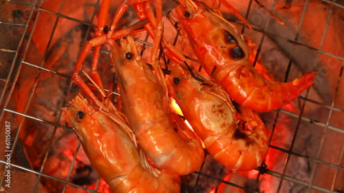 shrimp grilled with stove charcoal