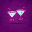 Drinks background with simple sketch icon wine glasses with a st