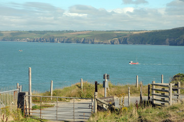 View over harbour town of New Quay on Cardigan coast