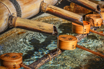 Bamboo pipe with water dippers