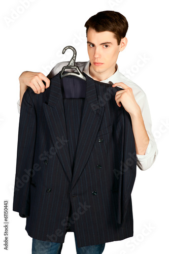 young man with suit on hanger isolated on white background