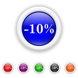 10 percent discount icon - six colours set vector