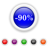 90 percent discount icon - six colours set vector