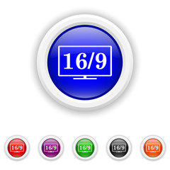 16 9 TV icon - six colours set vector