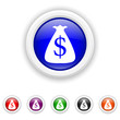 Dollar sack icon - six colours set vector