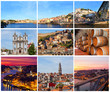 Set of photos with city views of Porto, Portugal