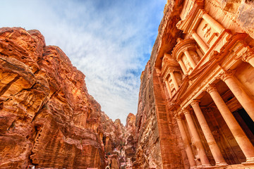 Al Khazneh in the ancient Jordanian city of Petra, Jordan