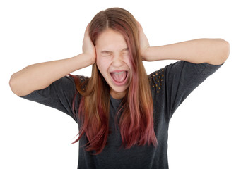 girl closing her ears and screaming