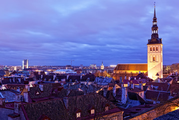 View of Tallinn with evening illumination in winter