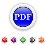 PDF icon - six colours set vector