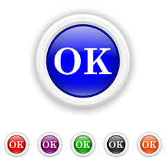 OK icon - six colours set vector