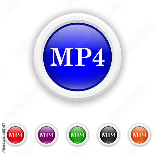 MP4 icon - six colours set vector