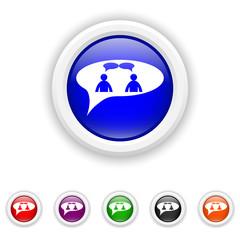 chat icon - six colours set vector - men in bubble
