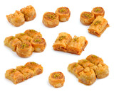 Turkish Baklava isolated on whitr background.