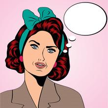 rétro femme mignonne dans le style de la bande dessinée