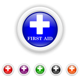 First aid icon - six colours set vector