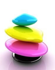Colorfull spa stones. 3d icon