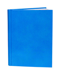 Blue book standing isolated