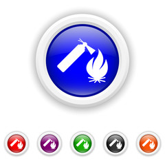 Fire icon - six colours set vector