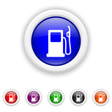 Gas pump icon - six colours set vector