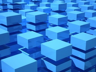 Abstract 3d illustration with array of blue and white boxes