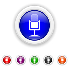 Microphone icon - six colours set vector