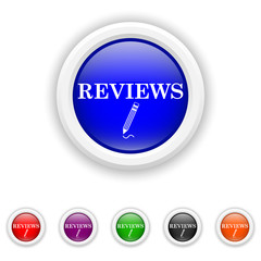 Reviews icon - six colours set vector