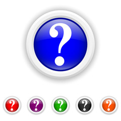 Question mark icon - six colours set vector