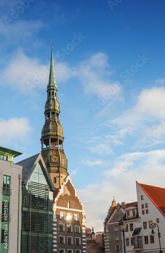 Saint Peter's Church in Riga City's historical center, Latvia
