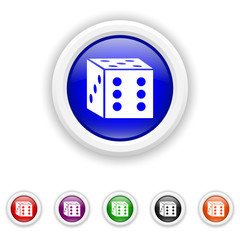 Dice icon - six colours set vector