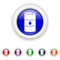 Oil barrel icon - six colours set vector