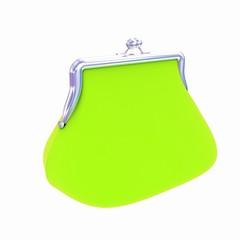 green purse on a white
