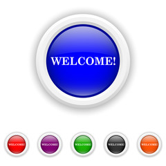 Welcome icon - six colours set vector