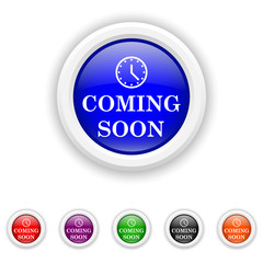 Coming soon icon - six colours set vector