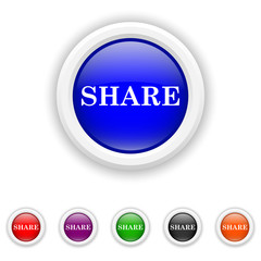 Share icon - six colours set vector