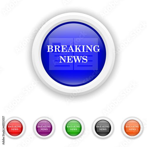 Breaking news icon - six colours set vector