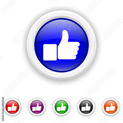 Thumb up icon - six colours set vector