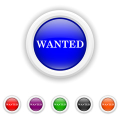 Wanted icon - six colours set vector