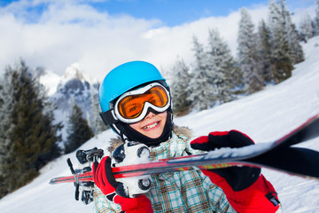 Happy young skier