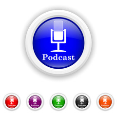 Podcast icon - six colours set vector