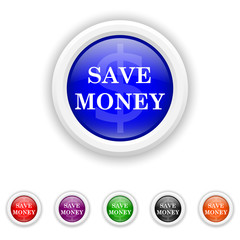 Save money icon - six colours set vector