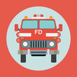Fire truck flat vector illustration