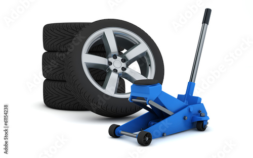 car jack and wheels