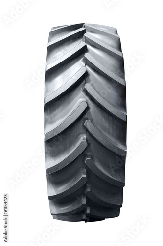 big tractor tire isolated on white