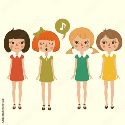 singing cartoon girls character, vector funny and cute kids