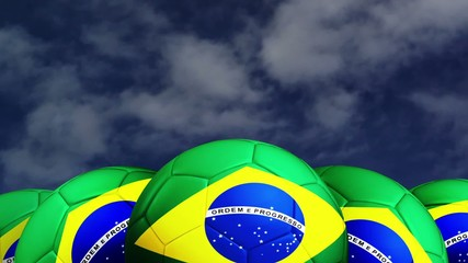 Soccer ball with Brazil flag